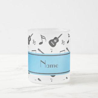 Custom name white black guitars music notes frosted glass coffee mug