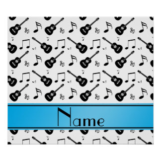 Custom name white black guitars music notes print