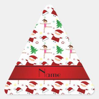 Custom name white christmas gymnastics santas triangle sticker