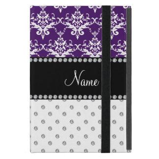 Custom name white diamond purple white damask cover for iPad mini