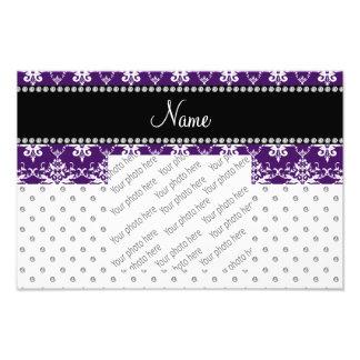 Custom name white diamond purple white damask photo