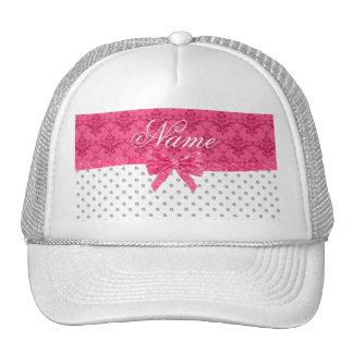 Custom name white diamonds pink damask bow trucker hats