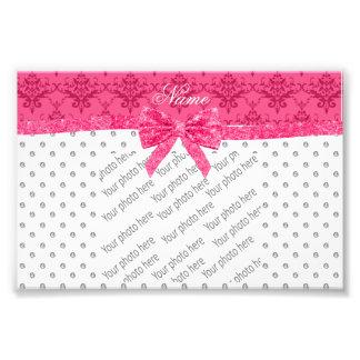 Custom name white diamonds pink damask bow photo print