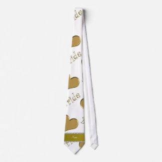 Custom name white gold bride hearts tie