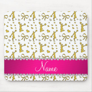 Custom name white gold cheerleading bows hearts mouse pad