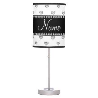 Custom name white heart diamonds black stripe desk lamp
