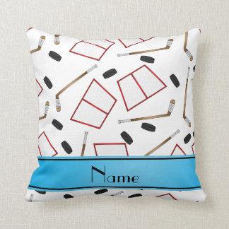 Custom name white hockey sticks pucks nets pillow