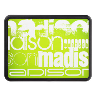 Custom Name; White & Neon Chartreuse Yellow Green Hitch Covers