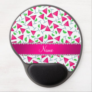 Custom name white pink cosmos limes gel mouse pad