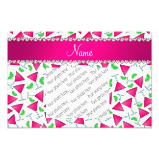 Custom name white pink cosmos limes photo print
