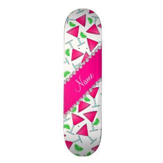 Custom name white pink cosmos limes custom skate board