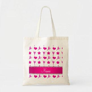 Custom name white pink gymnastics stars hearts tote bag