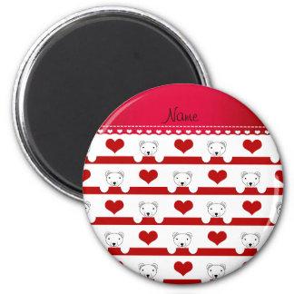 Custom name white polar bears red hearts stripes 2 inch round magnet