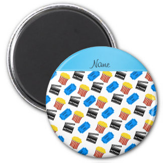 Custom name white popcorn movie ticket action sign 2 inch round magnet