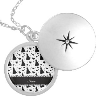 Custom name white princess hearts stars crown round locket necklace