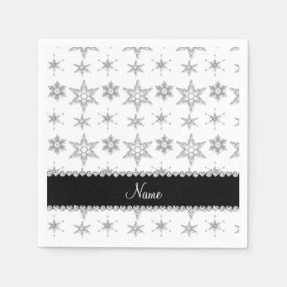 Custom name white silver snowflakes black stripe standard cocktail napkin