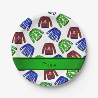 Custom name white ugly christmas sweater pattern paper plate