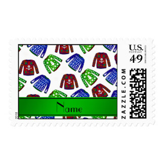 Custom name white ugly christmas sweater pattern postage