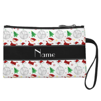 Custom name white volleyball christmas pattern wristlet clutches
