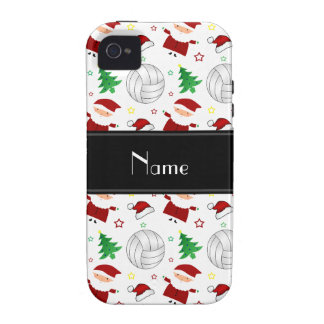 Custom name white volleyball christmas pattern iPhone 4 covers