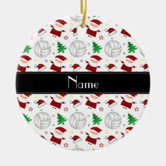 Custom name white volleyball christmas pattern ceramic ornament