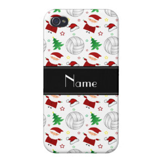 Custom name white volleyball christmas pattern iPhone 4/4S case