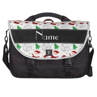 Custom name white volleyball christmas pattern computer bag