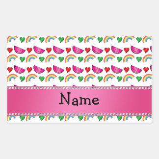 Custom name white watermelons rainbows hearts rectangular stickers