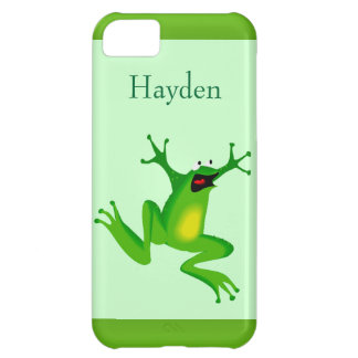 Custom Name Wild Cartoon Jumping Frog Green iPhone 5C Cover