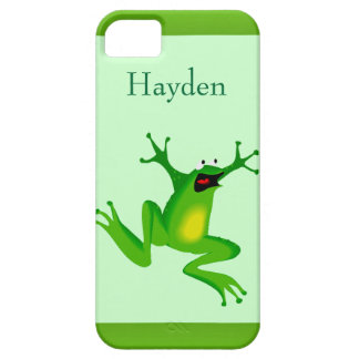 Custom Name Wild Cartoon Jumping Frog Green iPhone SE/5/5s Case