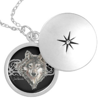 Custom Name Wild Gray, Grey Wolf Head Logo Design Silver Plated Necklace