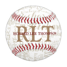 Custom Name With Initials Personalized Monogram Baseball at Zazzle