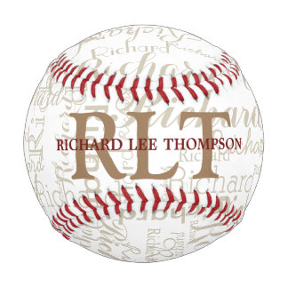 custom name with initials personalized monogram baseball