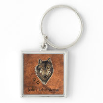 Custom Name Wolf Animal Tracks Keychain