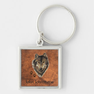 Custom Name Wolf Animal Tracks Silver-Colored Square Keychain