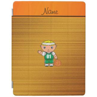 Custom name wood grain basketball player iPad cover