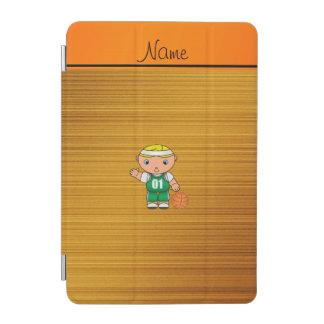 Custom name wood grain basketball player iPad mini cover