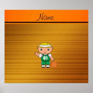 Custom name wood grain basketball player print