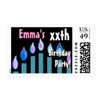 CUSTOM NAME xxth Birthday Party Stamp - BLUE