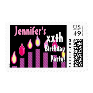 CUSTOM NAME xxth Birthday Party Stamp - PINK