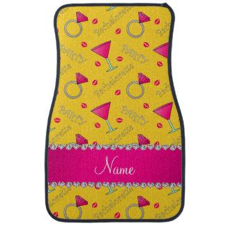 Custom name yellow bachelorette cocktails rings car floor mat