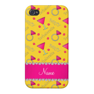 Custom name yellow bachelorette cocktails rings iPhone 4/4S covers