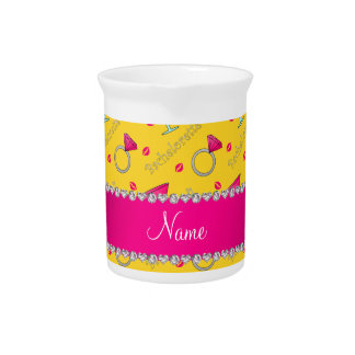 Custom name yellow bachelorette cocktails rings drink pitcher