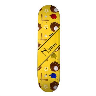 Custom name yellow baseball glove hats balls skateboard deck