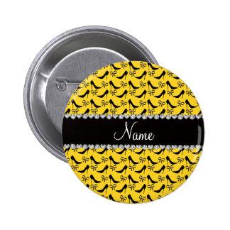 Custom name yellow black high heels bow diamond button