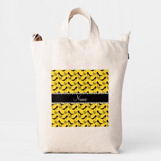 Custom name yellow black high heels bow diamond duck canvas bag