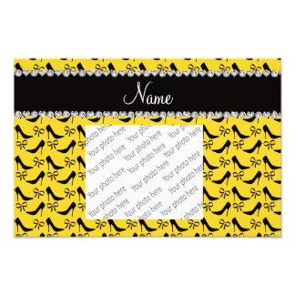 Custom name yellow black high heels bow diamond photograph