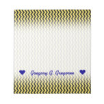 [ Thumbnail: Custom Name; Yellow & Black Wavy Line Pattern Notepad ]