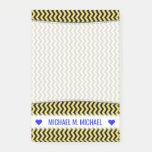 [ Thumbnail: Custom Name; Yellow & Black Wavy Line Pattern Notes ]