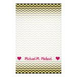 [ Thumbnail: Custom Name; Yellow & Black Wavy Line Pattern Stationery ]